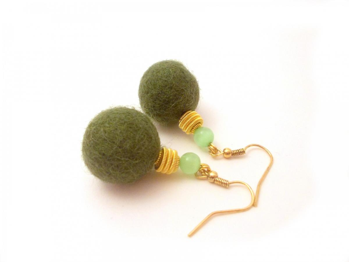 Green Gold Felted Beaded Earrings, Felted Jewelry , Dangle Earrings, Large Felt Beads, Gifts Under 20