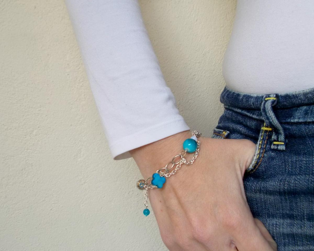 Blue Charm Bracelet, Silver Chain Bracelet, Felt Jewelry, Hippie Beach Fashion, Semi precious stones, Under 50 30 25
