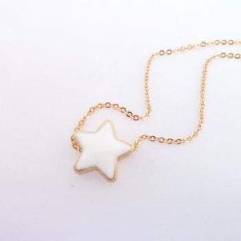 White Star Necklace, Dainty Star Necklace, tiny star necklace, Double Sided Star Jewelry, Modern Elegant Necklace, Gold Enamel Star