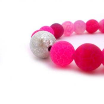 Pink Agate Beaded Bracelet, Frost dream fire dragon agate beads and silver stardust bead
