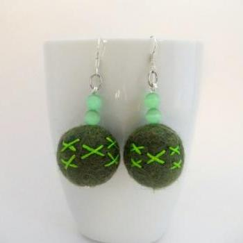 Green Felted Earrings, Embroidered Forest Green Felted Wool Beaded Dangle Earrings, Large Felt Beads