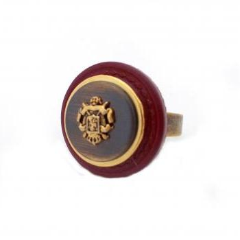 Burgundy Bronze Button Ring, Statement Crest Ring, Rustic Gold Oxblood Adjustable Ring, Vintage Style Ring