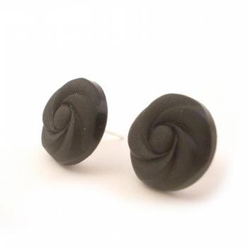 Black Flower Button Earrings, Synthetic button jewelry, under 20, Post earrings, swirl pattern