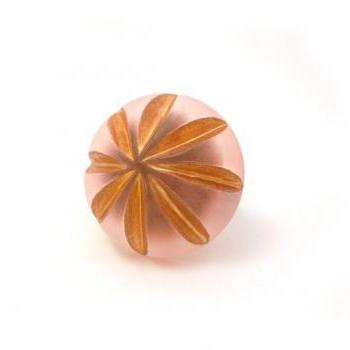 Pink Gold Margarita Ring, Floral Button Jewelry, Adjustable Copper Ring, Large synthetic button, under 50