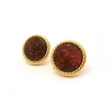 Burgundy Gold Earrings, Post Earrings, Vintage Button Jewelry, synthetic button, under 20
